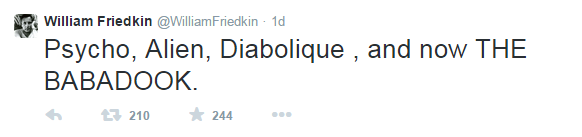Un altro tweet dedicato da William Friedkin a Babadook